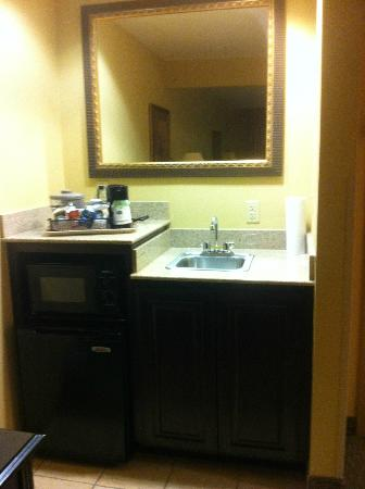 Hampton Inn & Suites Dallas-DFW ARPT W-SH 183 Hurst: sink area/microwave/fridge