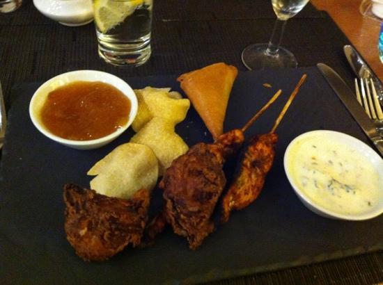 Novotel Manchester West: tasty Indian starter ( minus one hastily scoffed hand made samosa!)
