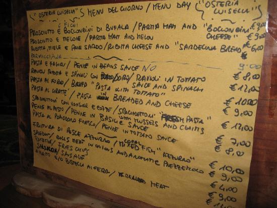 Osteria da Luisella: Menu - handwritten