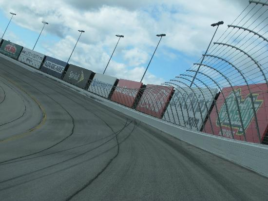 Racing around a corner at Atlanta Motor Speedway