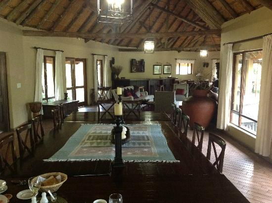 Royal Tree Lodge: Main lodge, main dining table in foreground