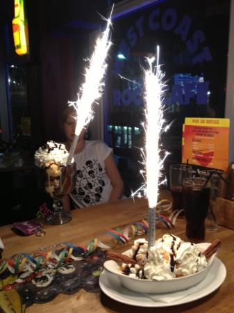 West Coast Rock Cafe: the best cake sparklers ever
