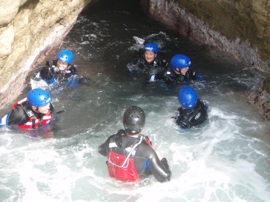 Studland Sea School: group coasteering
