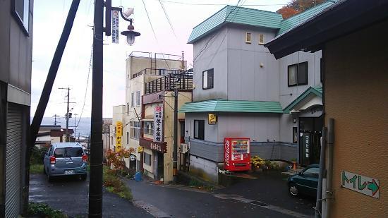 Kazamaura-mura, Japan: 新湯方向から坪田旅館と海を眺める