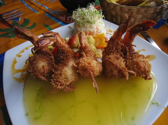 Polo's: coconut battered shrimp with mango sauce