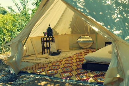 Casa de Laila | Glamping & Retreats: A bell tent for a couple with 2 meditation chairs