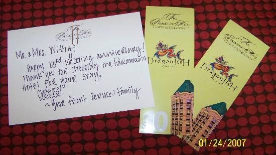 The Paramount Hotel : A sweet card from the hotel