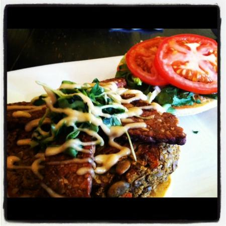 Great Sage: Pumpkin and green lentil burger topped with garlic aioli