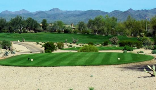 Rio Verde, AZ: Tee box on the Peaks Course at Tonto Verde Golf Club.