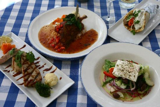 Mykonos Greek Bar and Grill : Lamb Shank, Greek Salad, Gyro and Grilled Tuna