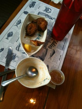 Captain Eddie's Seafood Bar: $10 meal - 3 shrimp and a small ladle of soup