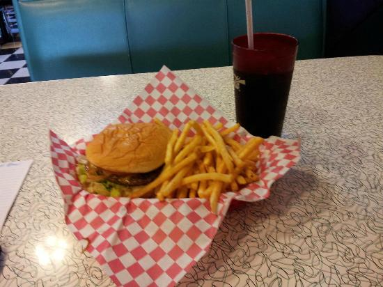 Main Street Diner: My yummy burger and fries and diet cola