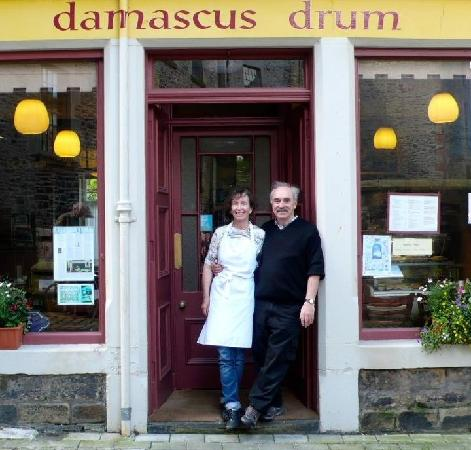 Proprietors Frances and Christopher in front of Damascus Drum Cafe