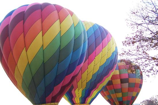 North Carolina Mountains, NC: Balloons just filled and ready to launch