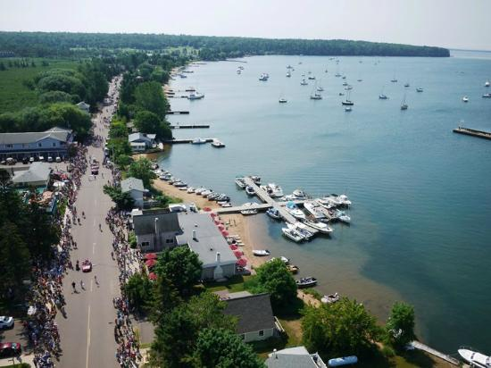 Ferry Landing Suites On Madeline Island Aerial View Of Town And Lake Superior During The