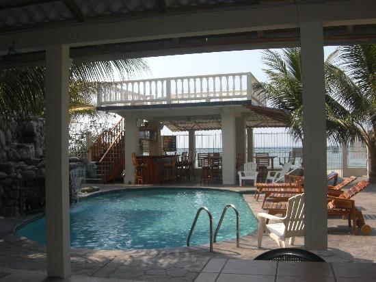 Diving Pelican Inn: Hotel fresh water pool with sundeck and bar in background
