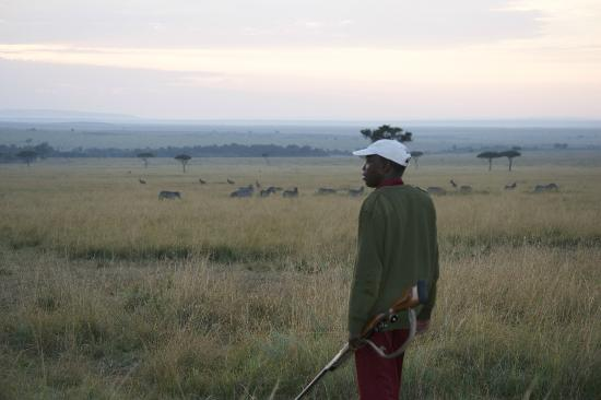andBeyond Kichwa Tembo Tented Camp: Setting out for an early morning safari walk, with protection:)