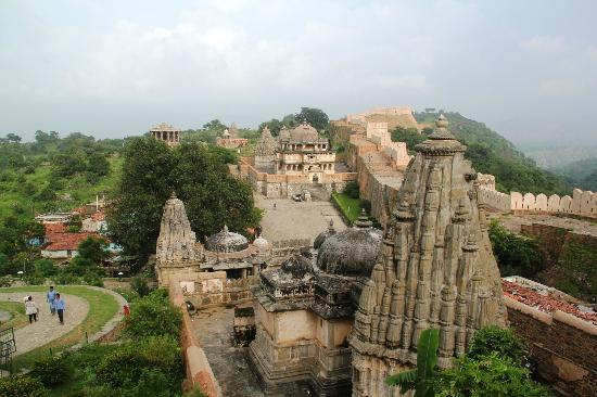 Kumbhalgarh Fort: A collection of temples and structures deep inside the fort as viewed from the top