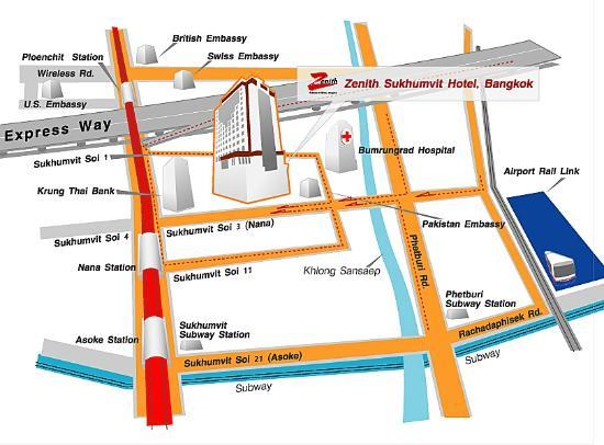 Zenith Sukhumvit Hotel Bangkok : Hotel Map