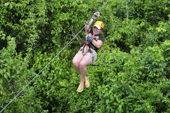 Selvatica Canopy Expedition and Adventure Tour: my 10 year old daughter on the zip wire