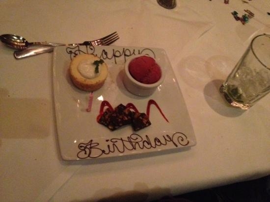 Ruth's Chris Steak House - Fresno: Special Birthday Dessert! Its the little touches that really matter! Thanks!