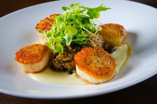 Camille's On The River: Seared Sea Scallops with Mushroom Risotto and Truffle Nage