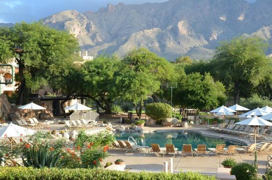The Westin La Paloma Resort & Spa: The view from the business center across the outdoor dining and pool areas to the distant club h