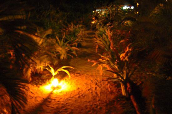 Blue Lagoon Beach Resort: The sand pathways lit by torch at night