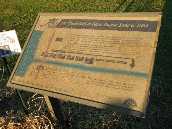 Lake Village, Арканзас: Ditch Bayou Battlefield roadside sign