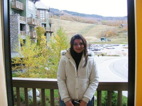 Stowe Mountain Lodge: Me on the Balcony-Great views of the slopes!