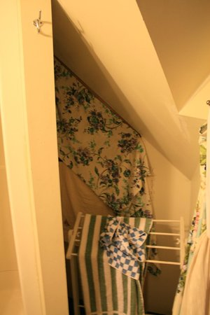 Enchanted Nights B&B: In the bathroom, fabric hiding something on or behind the wall