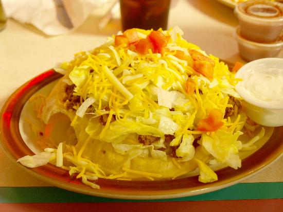PJ's Rainbow Cafe: Taco salad comes in a deep fried shell.