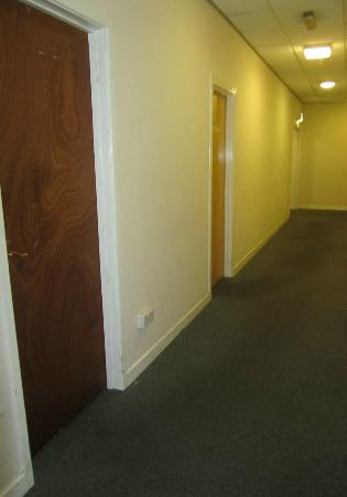 Shepherds Hotel: you can see the filthy path on the corridor carpet