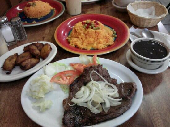 DRC Lincoln Restaurant: palomilla steak, yellow rice, black beans, and fried plantains.