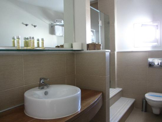 Nissaki Beach Hotel Naxos: Bathroom (steps lead up to the shower)