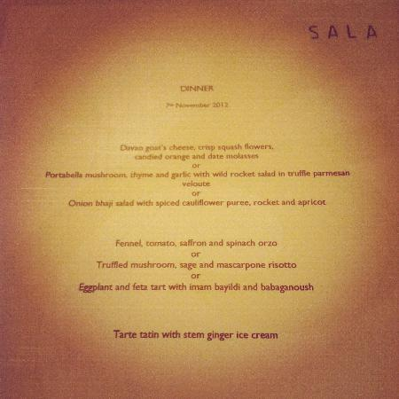 Sala Restaurant: vegetarian menu