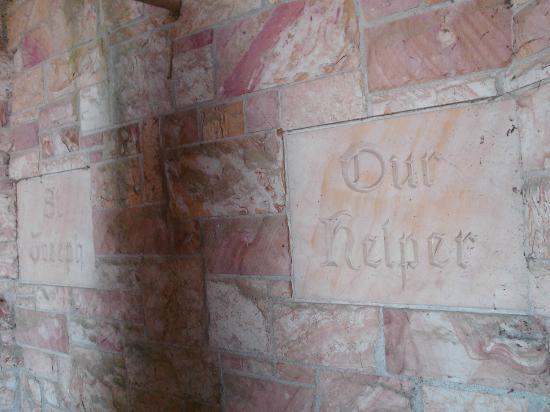 Saint Meinrad Archabbey: sandstone at St. Joseph Shrine