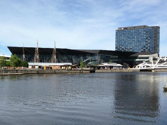 Pan Pacific Melbourne: Looking at Hilton South Wharf from other side of the Yarra