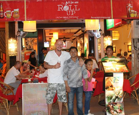 The Roll Up Restaurant: My hubby and staff member of Roll Up