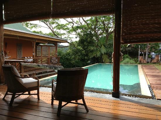 Villa Vanilla: la piscine vue depuis le restaurant