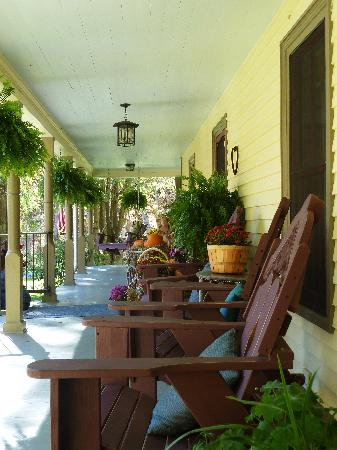 The Buck House Inn on Bald Mountain Creek: front porch to spend the day