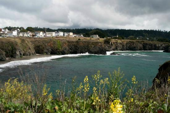 Breggo Wine Bar & Tasting Room: view from the sea cave looking towards Mendocino Village & Breggo