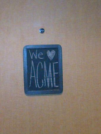 ACME Hotel Company Chicago: Blackboards on each room door....