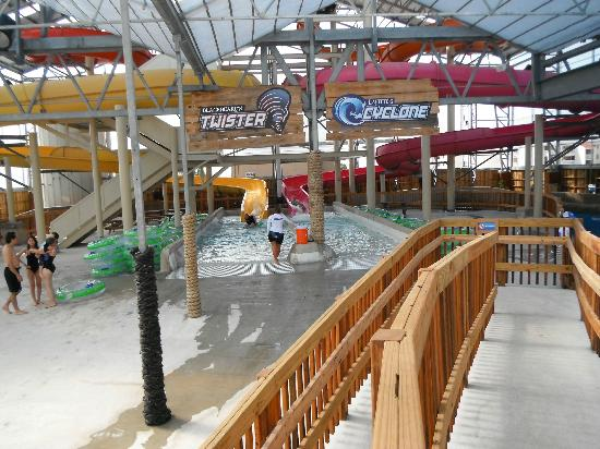 Schlitterbahn Beach Waterpark : Partial view of the two indoor waterslides