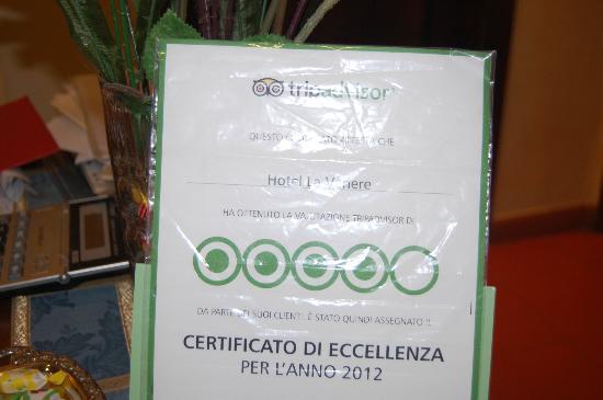 Hotel La Venere: premio de excelencia de tripadvisor