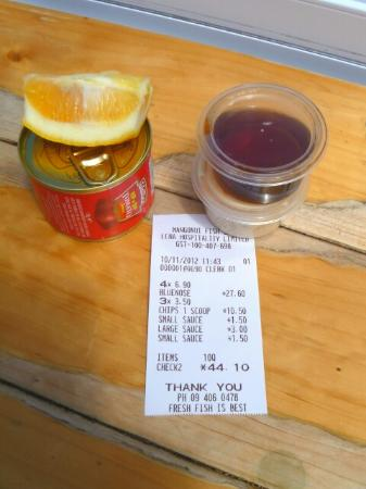 Mangonui, New Zealand: $6 for the sauce. Really?
