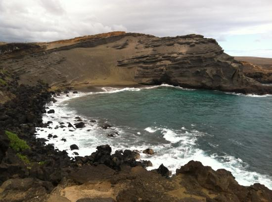 South Point (Ka Lae) and Green Sand Beach: the green sand beach