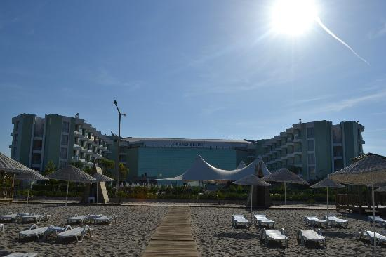 Grand Belish Hotel: The hotel from the private beack area