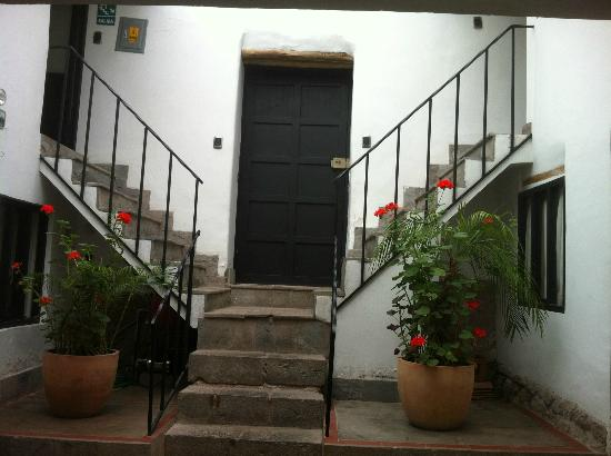 Second Home Cusco: front door from the inside (skylight suite is on the left)