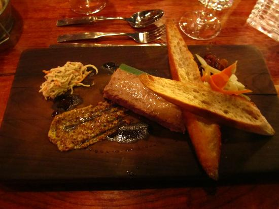 Bidon Taverne Culinaire: Terrine of lamb rillettes with mint jelly and celeriac salad